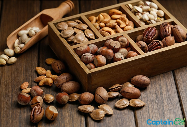 Nuts, sources of vitamin E