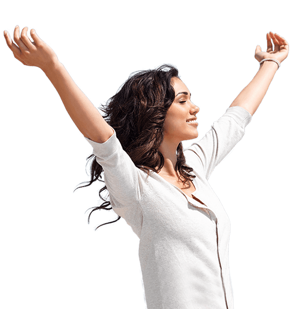 opened armed happy woman with healthy hair