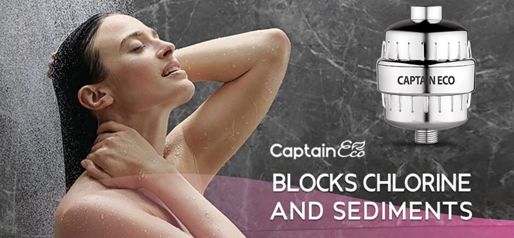 woman taking shower captain eco shower filter blocks chlorine