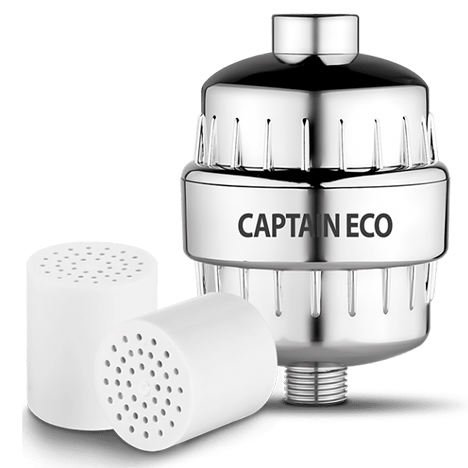 captain eco shower filter with two cartridges