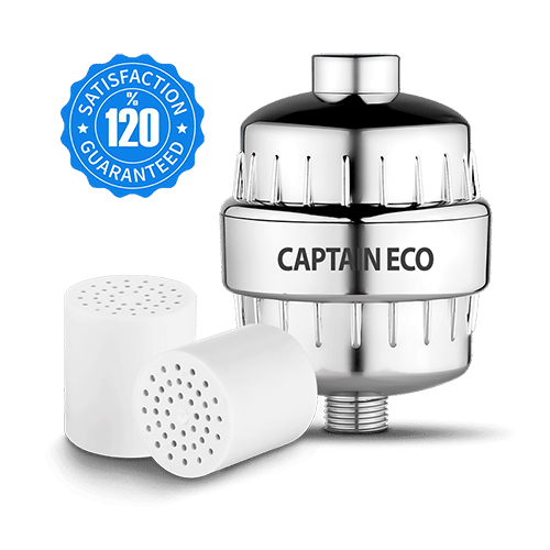 captain eco shower filter with cartridges and satisfaction logo