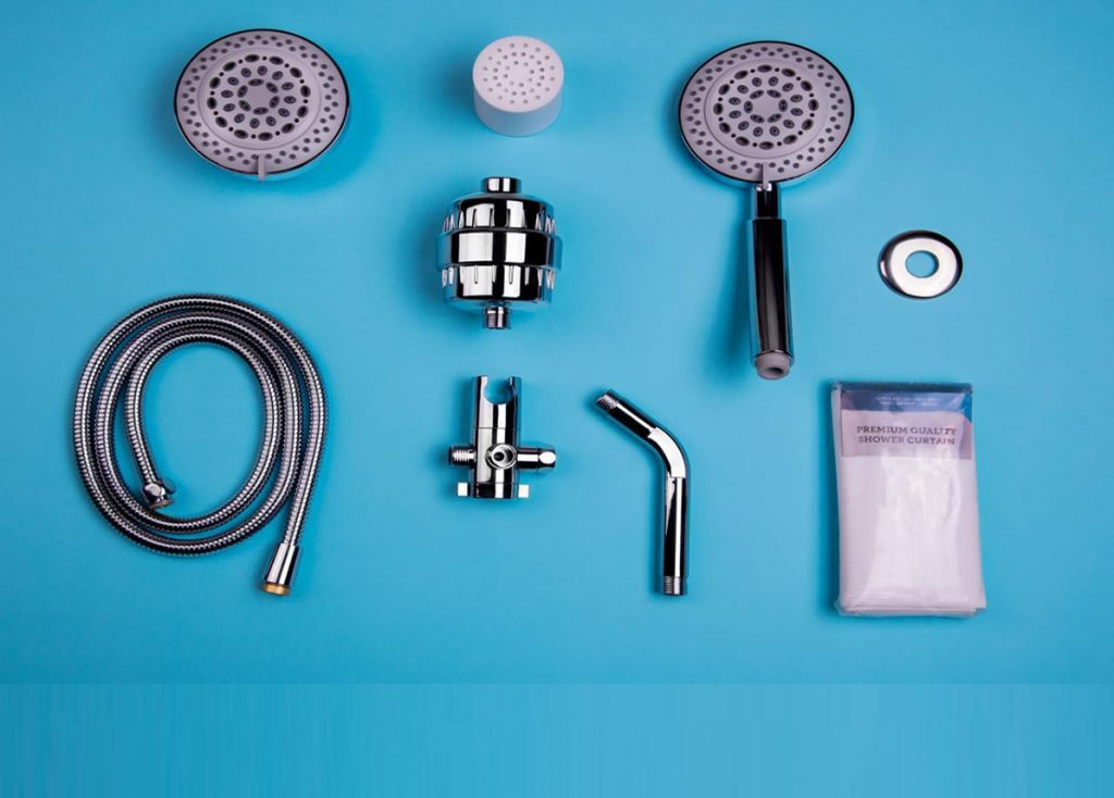 shower pack with shower filter and cartridge